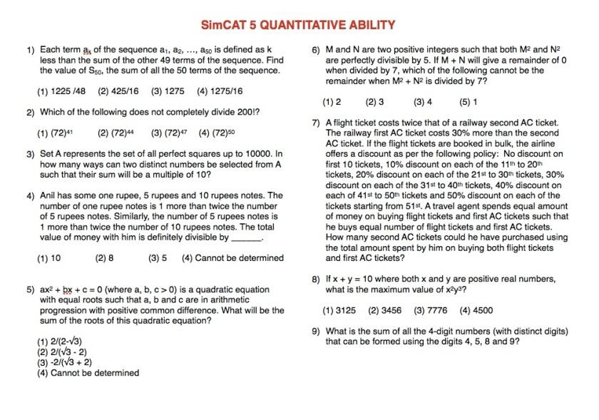 SimCAT 5 QA 1